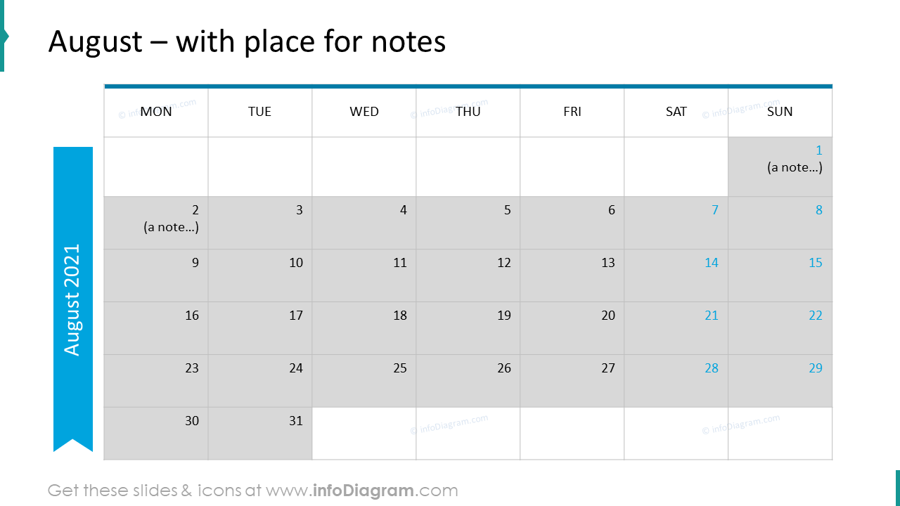 August Calendars 2020 EU with notes plan