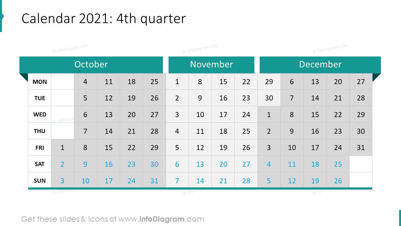4th Quarter 2020 EU Calendars