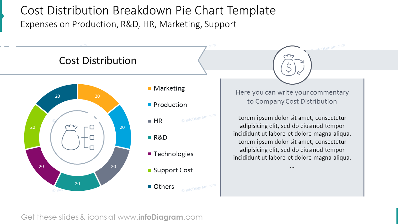 Cost distribution colorful pie chart with description