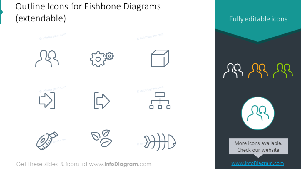 outline icons for fishbone diagrams