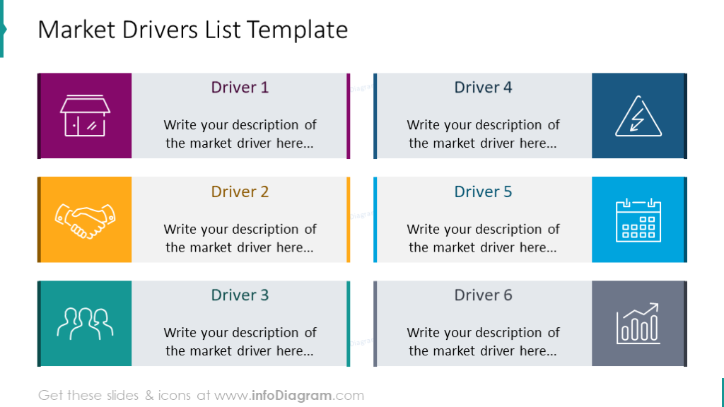 Market drivers list illustrated with colorful outline icons