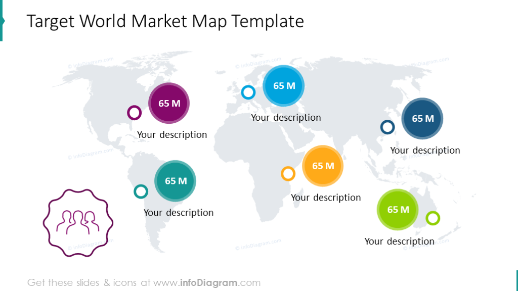 Target world market illustrated with flat map and value circles