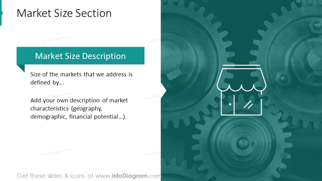 Market size section slide with gears background
