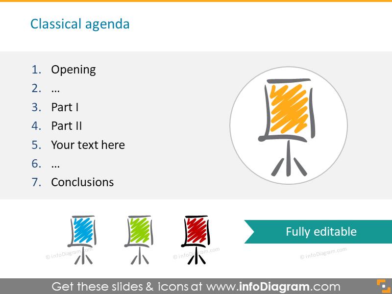 agenda flipchart scribble sketch icons powerpoint