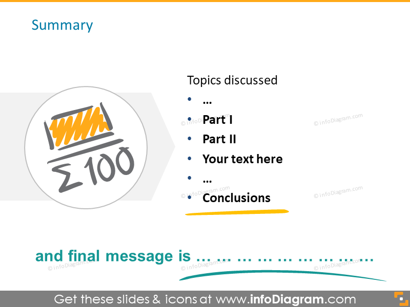 summary conclusion slide scribble sketch icons powerpoint
