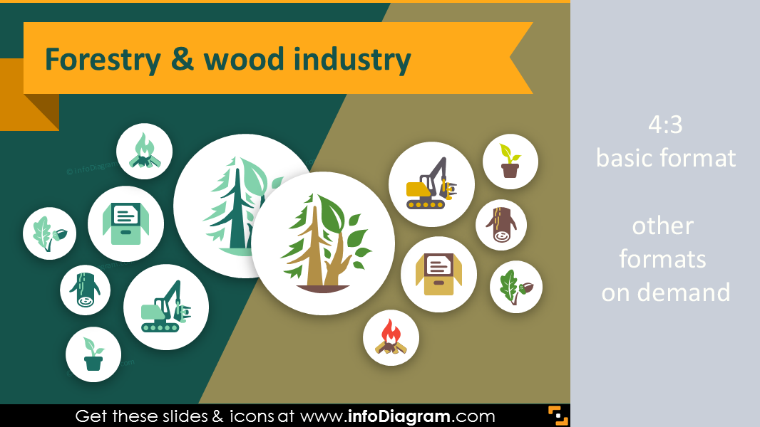 forest resources diagram 33 flat agriculture icons forestry wood ppt infographics