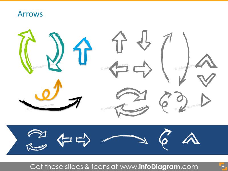 Pencil handdrawn arrows