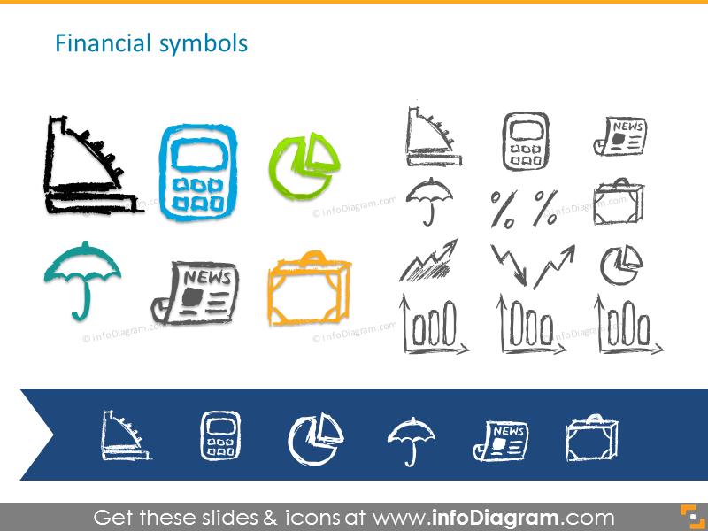 Pencil handdrawn financial symbols