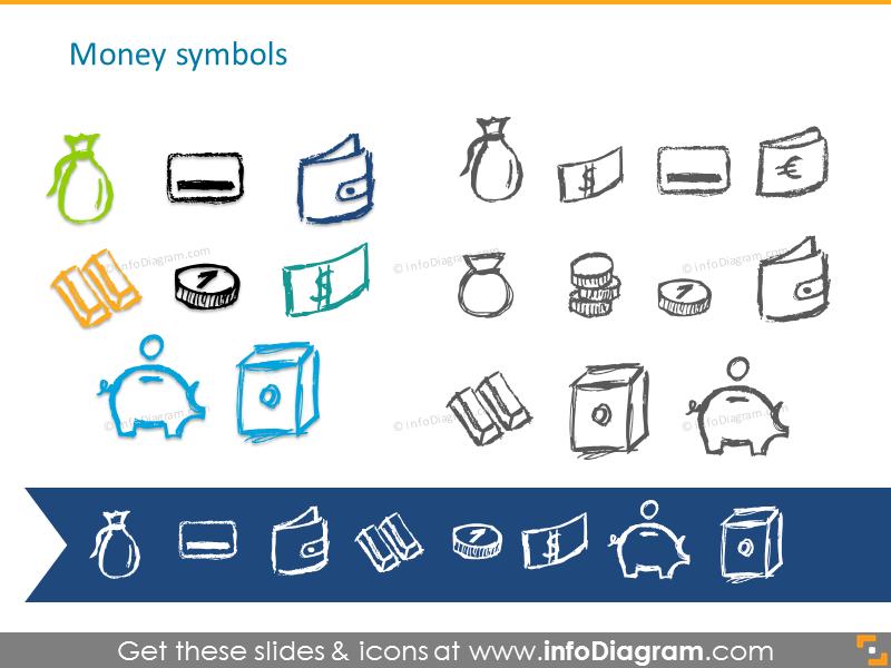 Pencil handdrawn money symbols