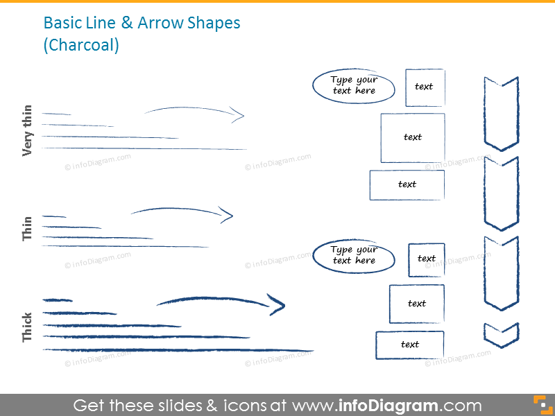 Basic lines and arrows in charcoal style
