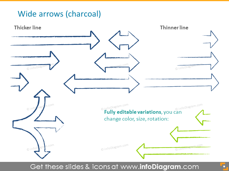 Wide arrows in charcoal style