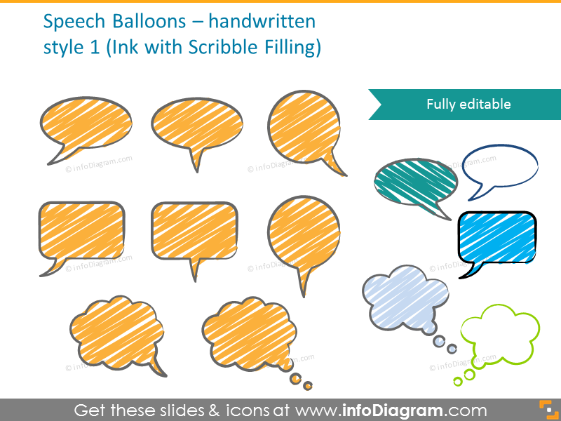 Speech ink balloons with scribble filling