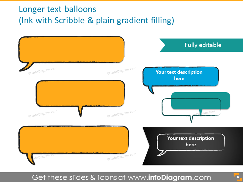 Longer text balloons with plain gradient filling