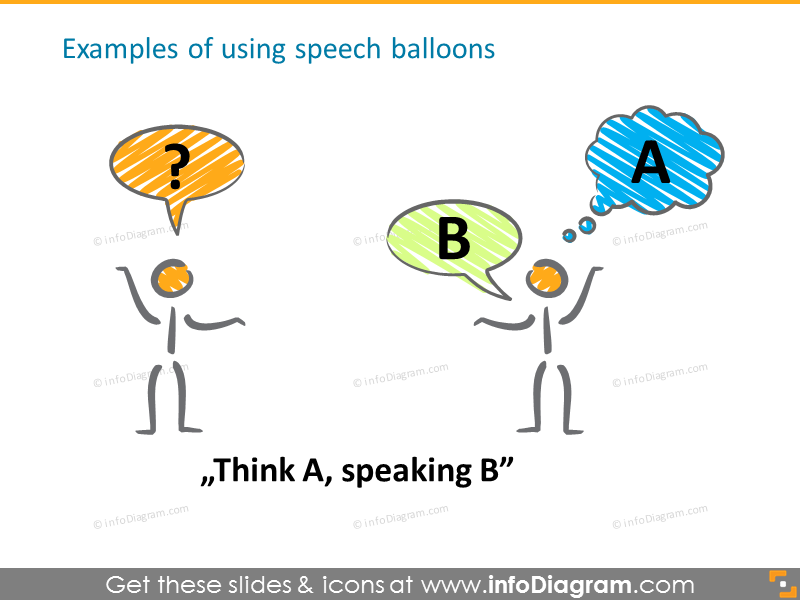 Examples of using speech balloons with scribble figures