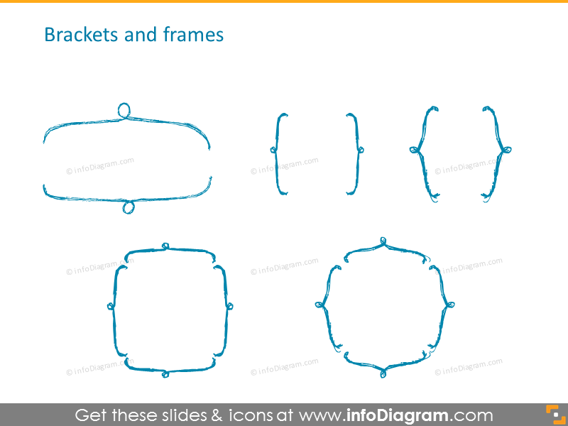 Brackets and frames icons set
