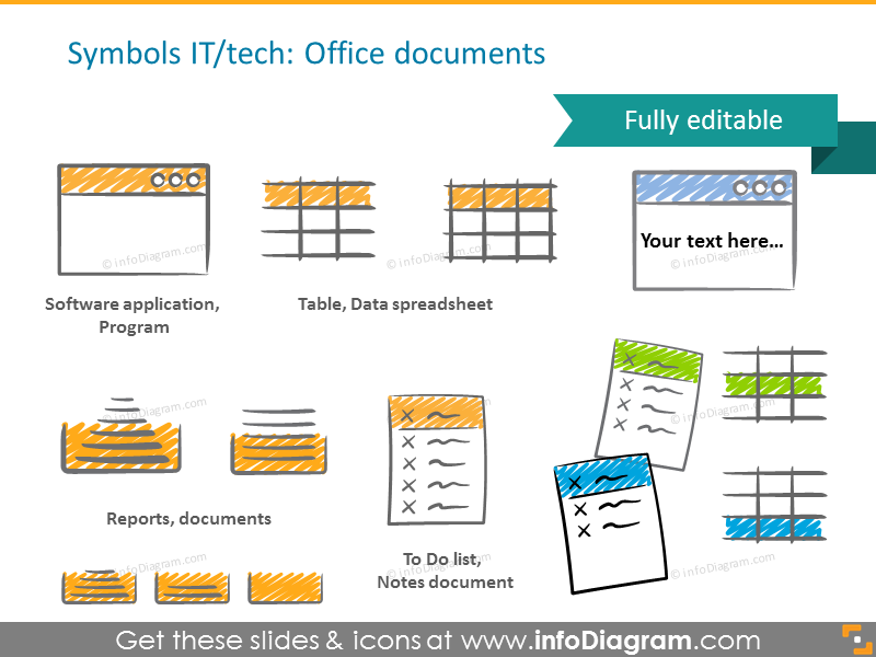 Example of the office documents and IT symbols