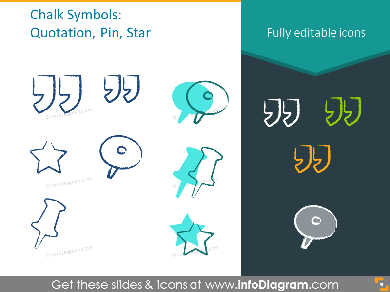 Example of the chalk symbols: quotation, pin, star
