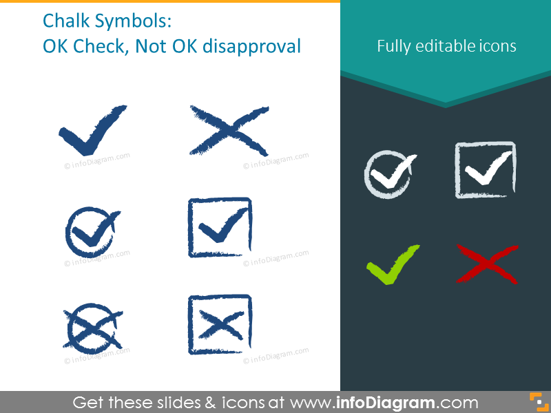 Chalk Symbols: OK, check, disapproval