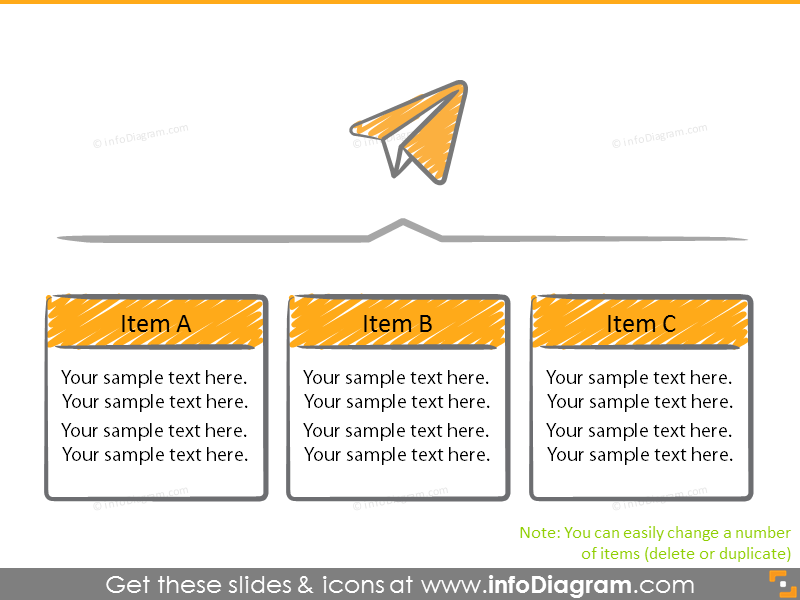 Diagram with paper plane icon