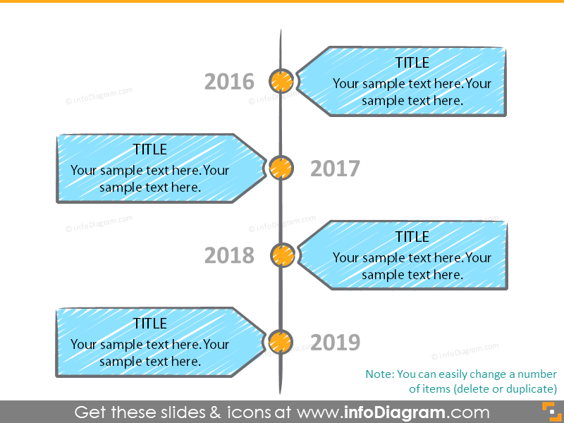 Vertical timeline with scribble filling