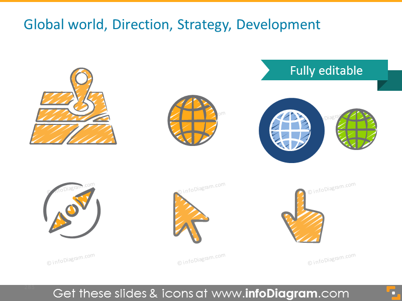 Example of Global world, Direction, Strategy, Development symbols
