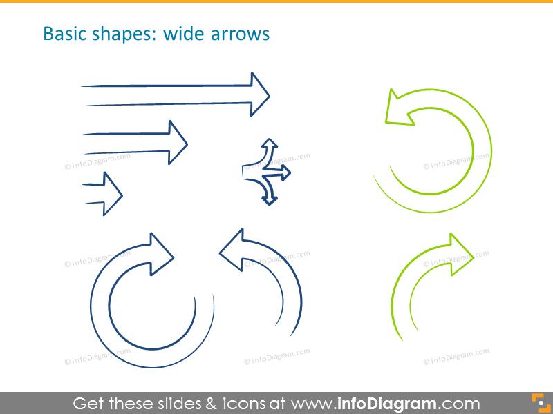 Handdrawn wide arrows example