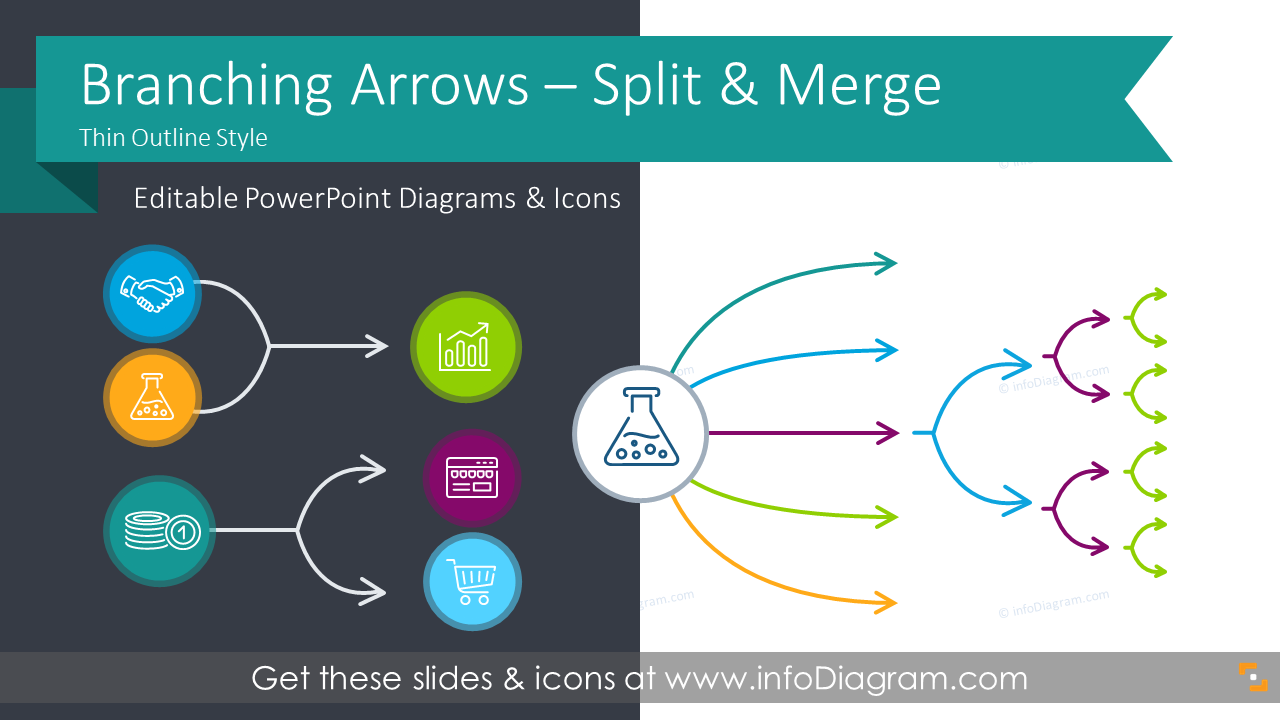 thin block arrows of branching processes fork mutliple split or merge powerpoint flow charts outline