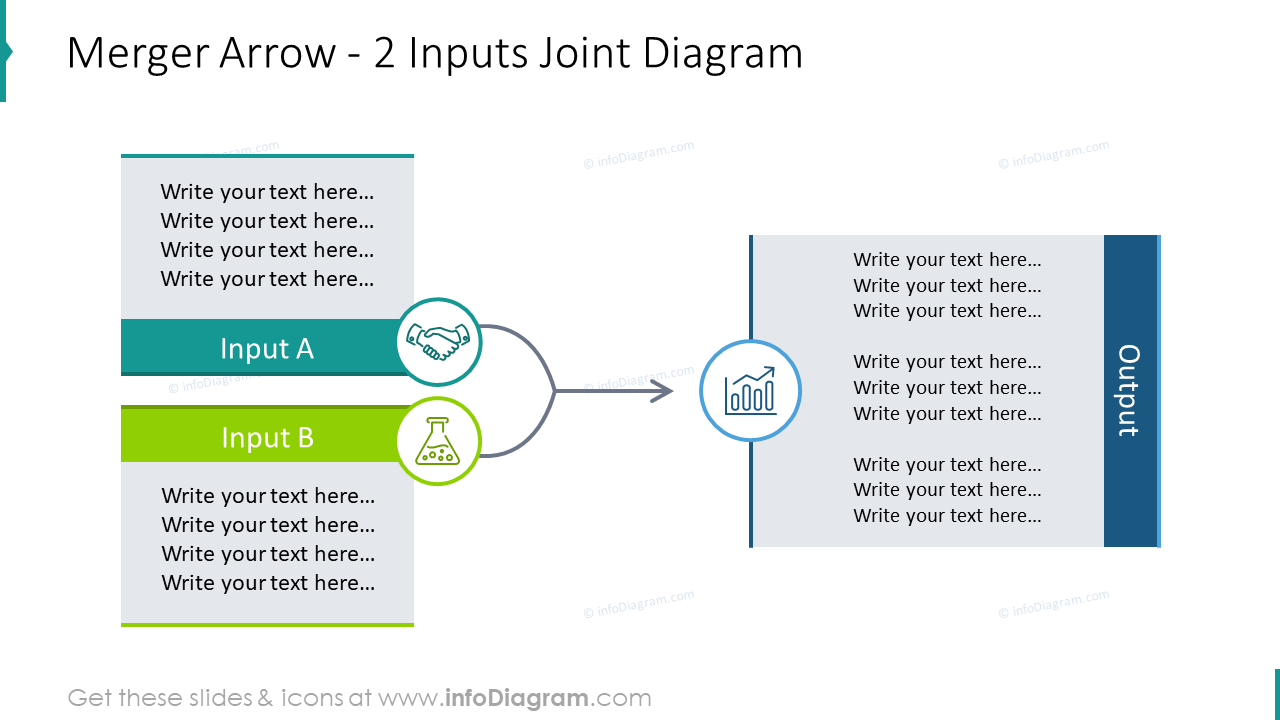2 inputs joint slide designed with merger arrow