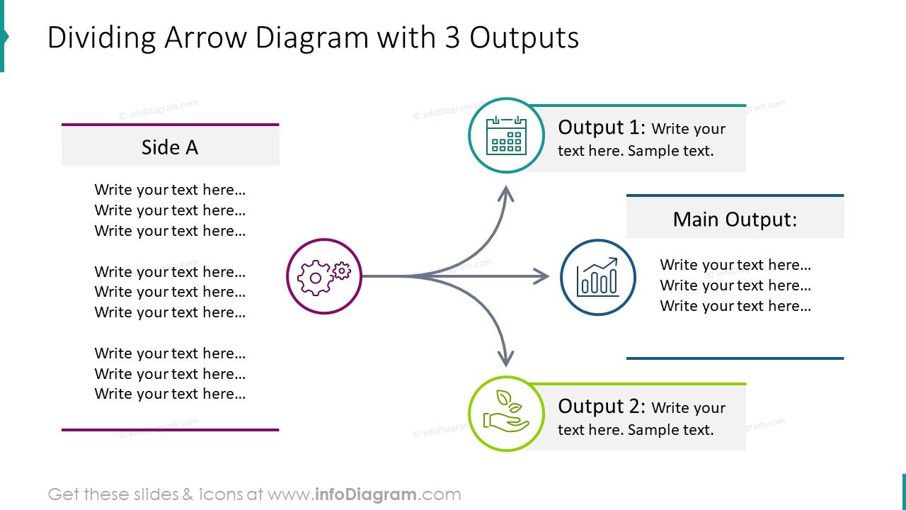 Dividing arrow infographics for 3 outputs