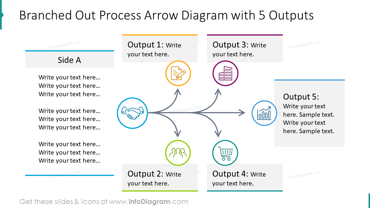 Branched out process arrow with 5 Outputs template