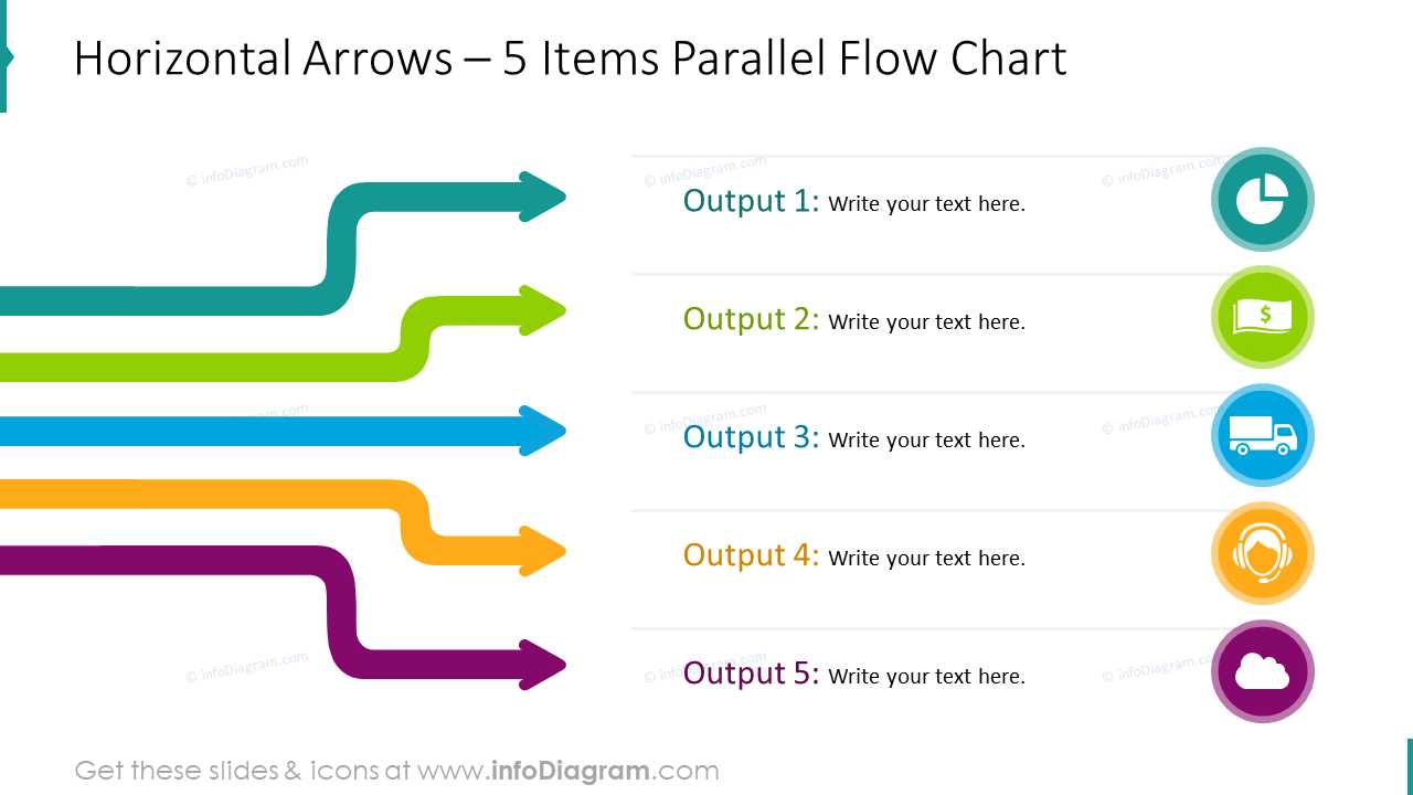 Layered arrows infographics - parallel flowchart
