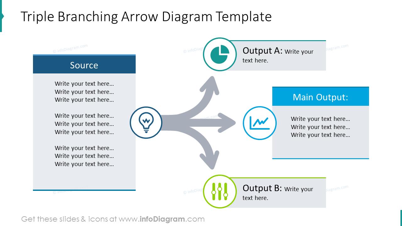 Triple branching arrow diagram template