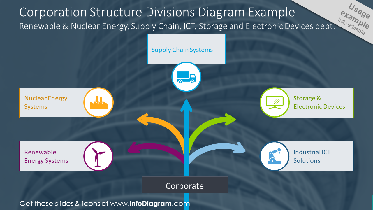 Example of corporation structure divisions diagram