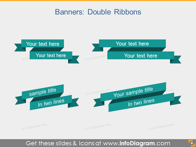Flat Banners Double Ribbons Infographics PPT clipart