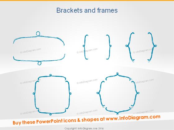 Sketched Brackets Frames Pencil for Infographics ppt