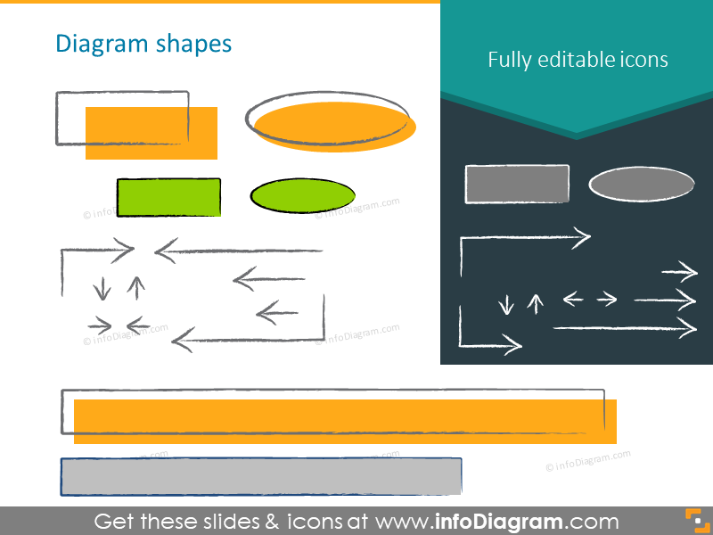 block diagram charcoal handwritten shapes icons ppt