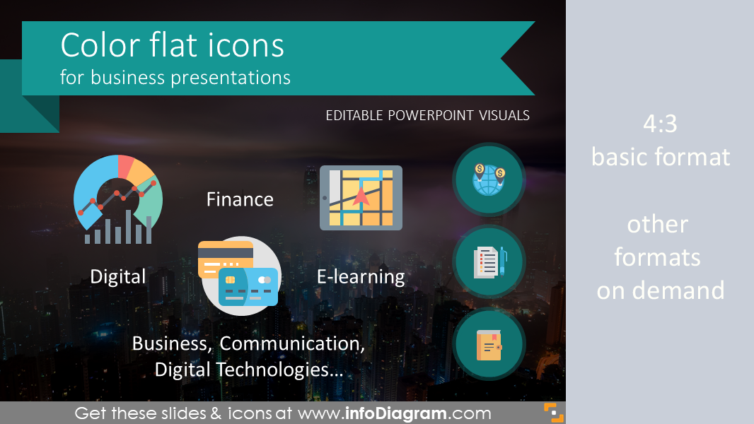 Flat Multicolor Icons for Business Infographics (PPT vector symbols)