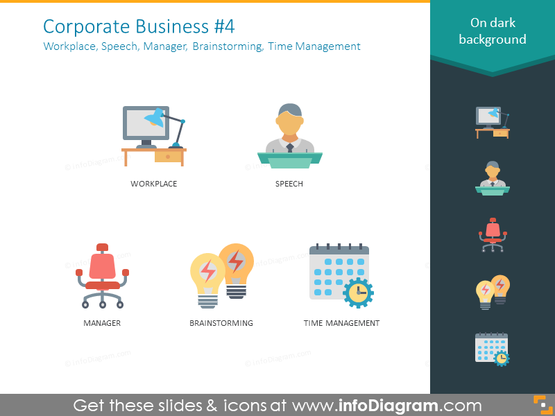 Multicolor icons: workplace, speech, manager, brainstorming, management