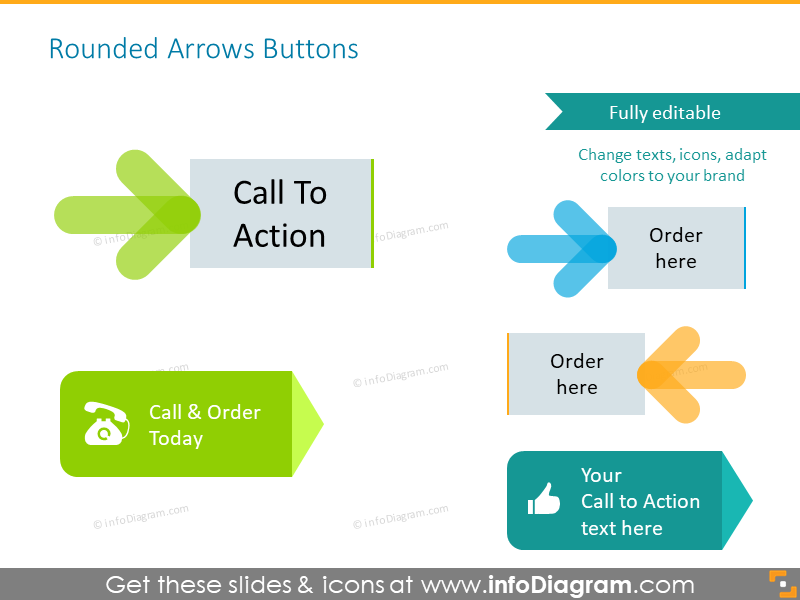 Rounded arrows buttonwith call to action