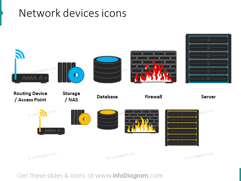 network device routing access point database firewall server clipart icon