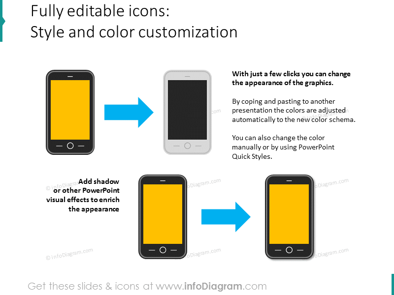 editable mobile touchscreen phone cell clipart customization powerpoint