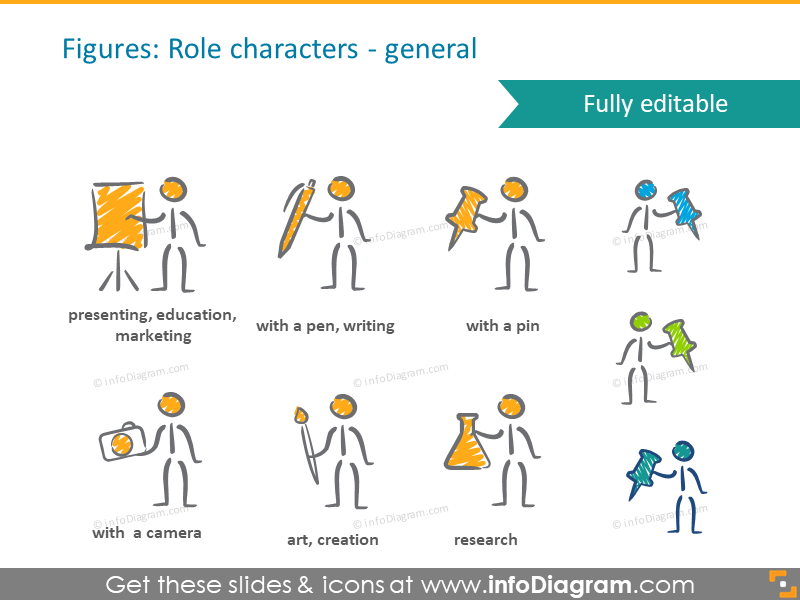 people role scribble handwritten characters pictograms ppt icon