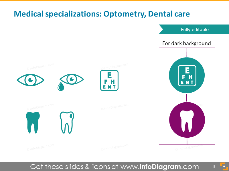Medical specialist ophthalmologist dentist dental icon