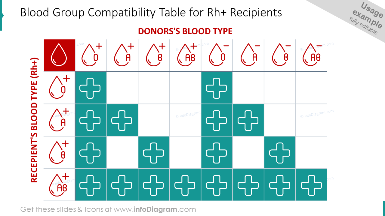 Blood group compatibility table for Rh+ recipients slide