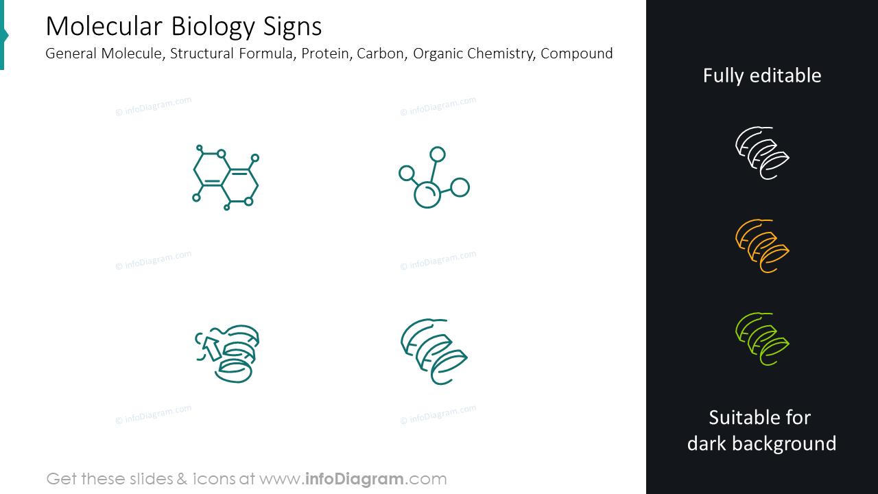 Molecular biology signs: general molecule, structural formula