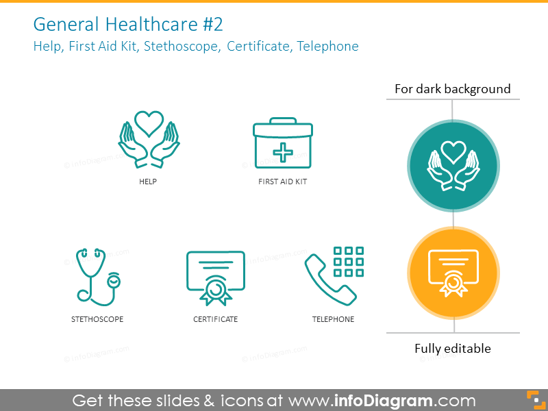 Example of the general healthcare icons