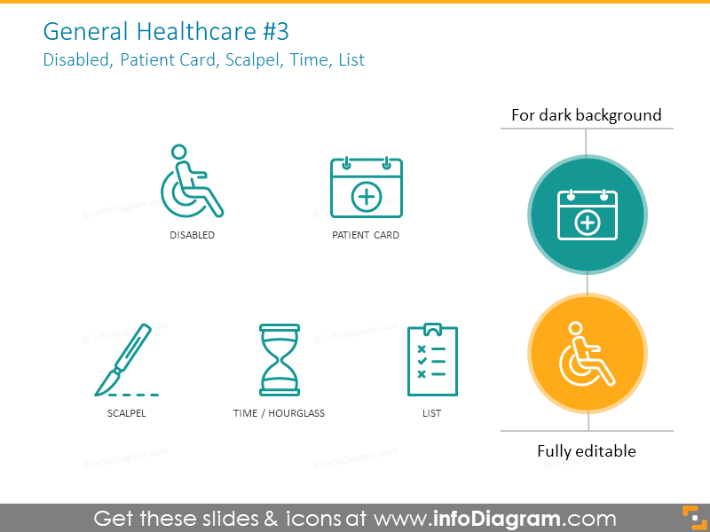 Healthcare icons set: disabled, patent card, scalpel, time