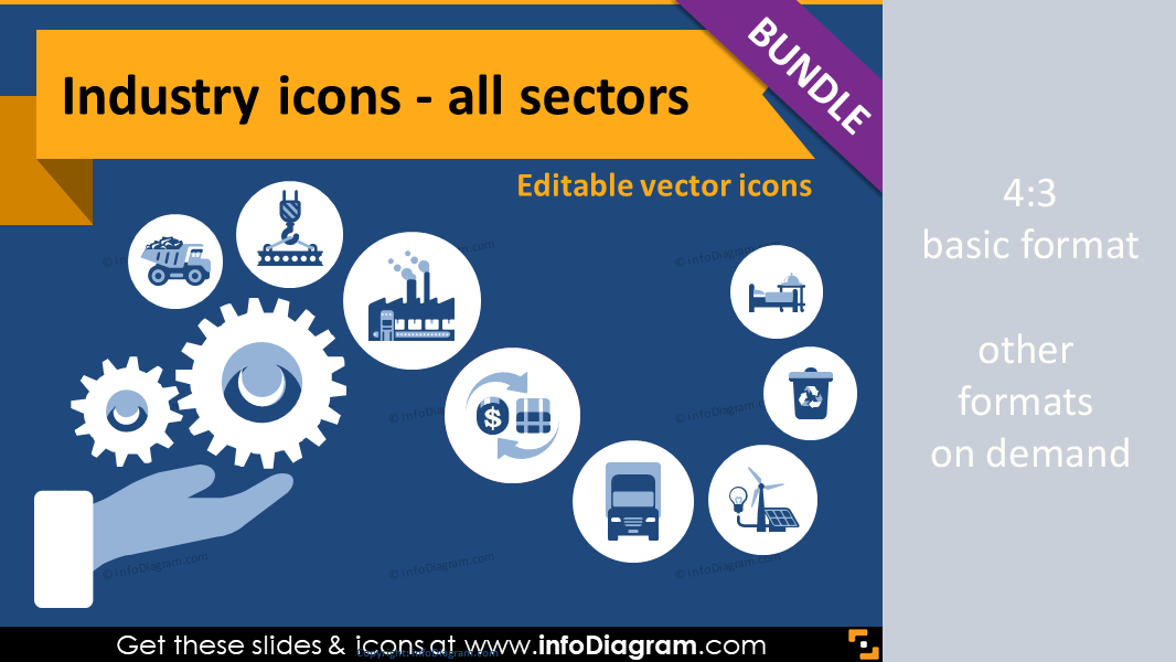 64 Industry Editable Icons With Simple Flat Style