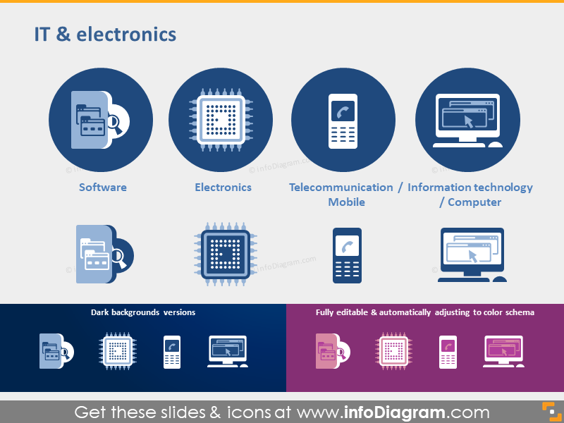 IT electronics icons Software telco technology symbols ppt