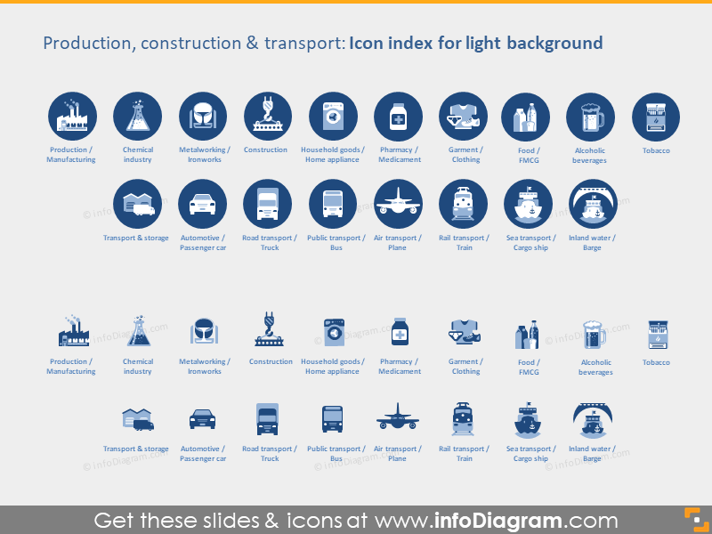 Production Industries icons light flat PPT clipart